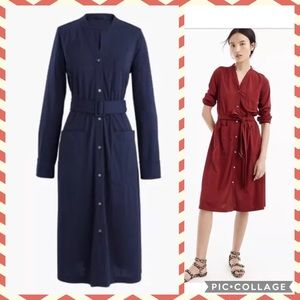 NWT J. CREW Navy Long Sleeve Belted Knit Dress